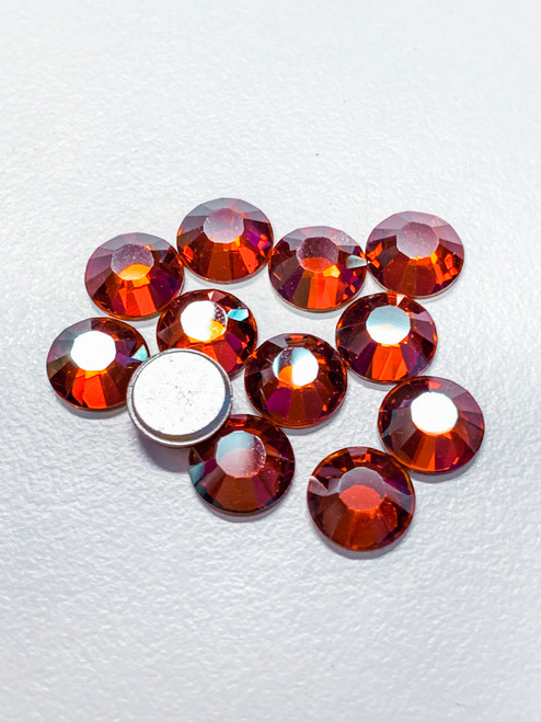 Crystal Red Magma Swarovski Flat Back Crystals, Article 2028, SS 40, Non-HotFix (Qty: 12)