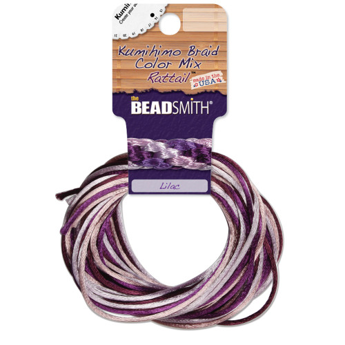 2mm Satin Cord (Rattail) Mix, Lilac (4 colors - 3 yards each)