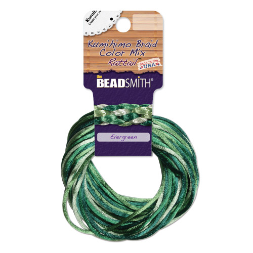 2mm Satin Cord (Rattail) Mix, Evergreen (4 colors - 3 yards each)