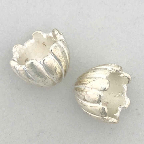 Silver-Plated Fluted End Caps, ID 11.25mm (Qty: 2)