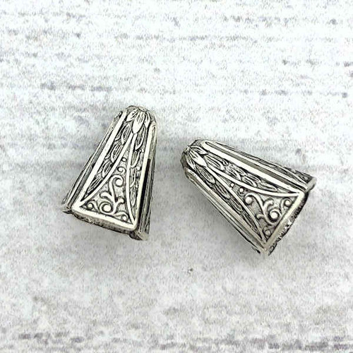 Art Deco Narrow End Caps, Antique Silver, ID 8.5mm (Qty: 2)