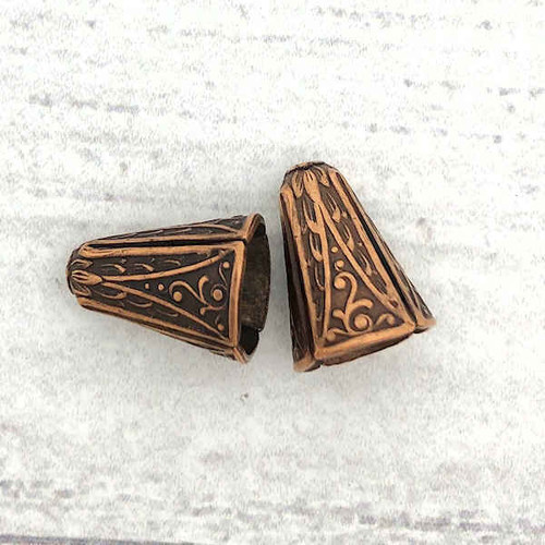 Art Deco Narrow End Caps, Antique Copper, ID 8.5mm (Qty: 2)