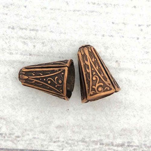 Art Deco Narrow End Caps, Antique Copper, ID 8.5mm (Qty: 2)