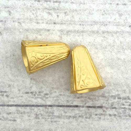 Art Deco Narrow End Caps, Matte Gold-Plated, ID 8.5mm (Qty: 2)