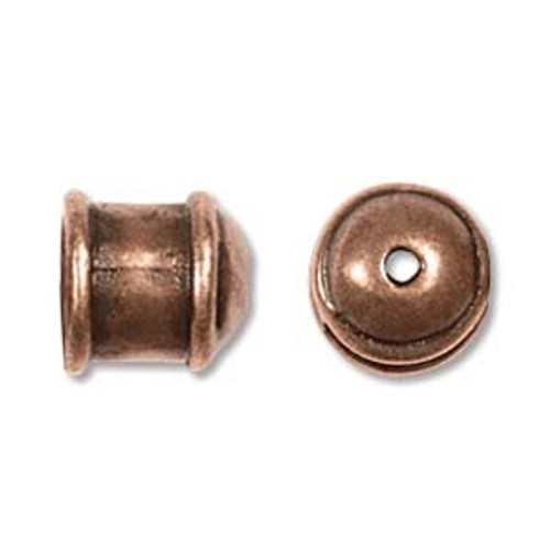Small Hammered End Caps, Antique Copper, ID: 5mm (Qty: 2)