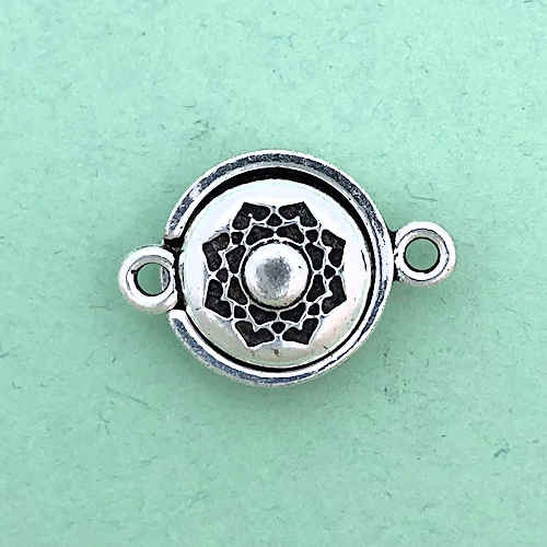 TierraCast Magnetic Clasp, Lotus, Antique Silver Plate (14mm) (Qty: 1)