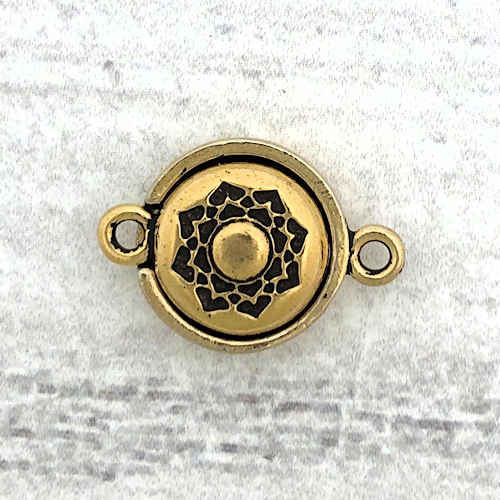 TierraCast Magnetic Clasp, Lotus, Antique Gold Plate (14mm)