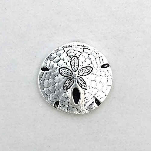 TierraCast Button, Sand Dollar, Silver Plated (17mm) (Qty: 1)