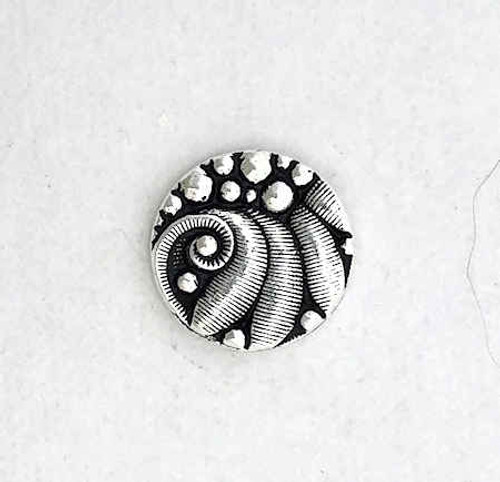 TierraCast Small Round Button, Antique Silver Plated (12.5mm) (Qty: 1)