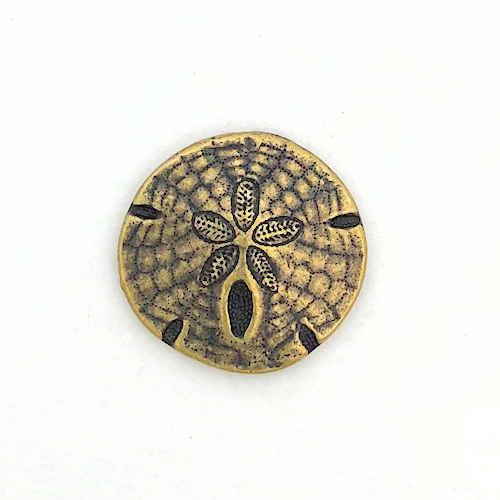 TierraCast Button, Sand Dollar, Oxidized Brass Plate  (17mm) (Qty: 1)
