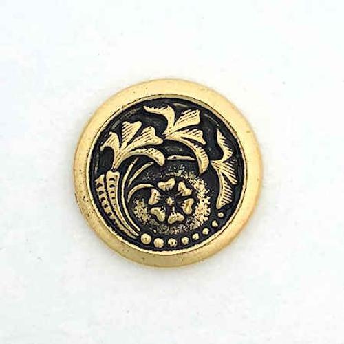 TierraCast Button, Leaf/Flower Design, Antique Gold Plated (17mm) (Qty: 1)
