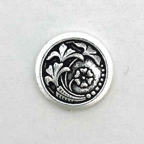 TierraCast Button, Leaf/Flower Design, Antique Silver Plated (17mm) (Qty: 1)