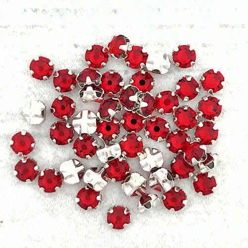 12ss Swarovski Rose Montees - Light Siam (Qty: 50)