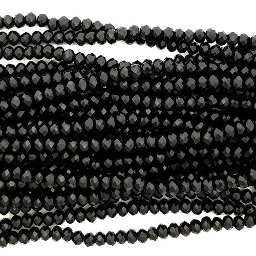 2x3mm Crystal Rondelles, Jet Black (Approx. 140 Beads)