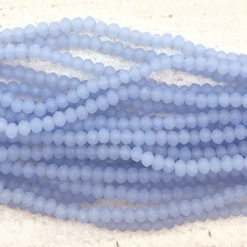 2x3mm Crystal Rondelles, Sky Blue Opal (Approx. 140 Beads)