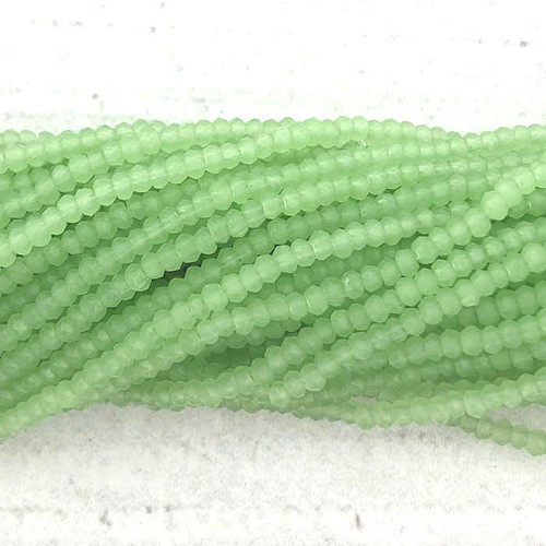 1.5x2mm Crystal Rondelles, Apple Green Opal (Approx. 200 Beads)