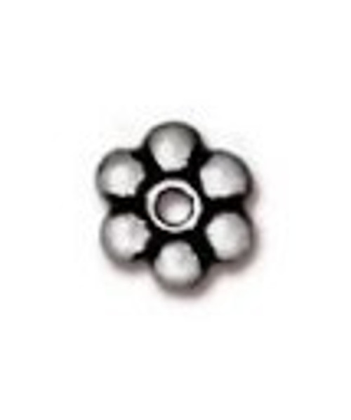 TierraCast 4mm Daisy Spacers, Antique Silver-Plated (Qty: 50)