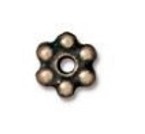TierraCast 4mm Daisy Spacers, Oxidized Brass (Qty: 50)