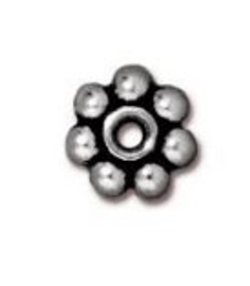 TierraCast 5mm Daisy Spacers, Antique Silver-Plated (Qty: 25)
