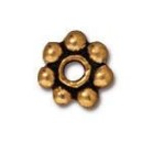 TierraCast 5mm Daisy Spacers, Antique Gold-Plated (Qty: 25)