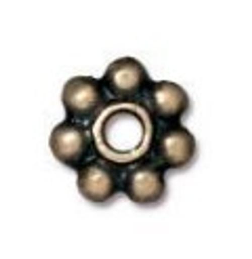 TierraCast 5mm Daisy Spacers, Oxidized Brass (Qty: 25)