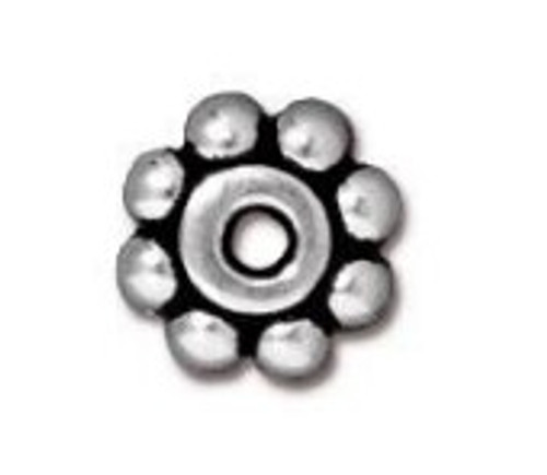 TierraCast 6mm Daisy Spacers, Antique Silver-Plated (Qty: 10)