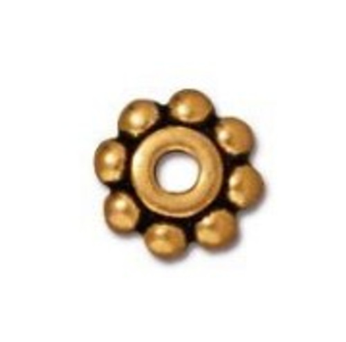 TierraCast 6mm Daisy Spacers, Antique Gold-Plated (Qty: 10)