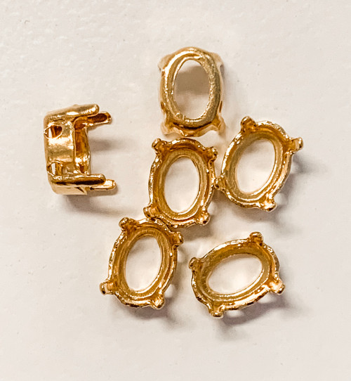 Gold-Plated Sew-On Settings for Swarovski 4120, 8x6mm Ovals (Qty: 6)