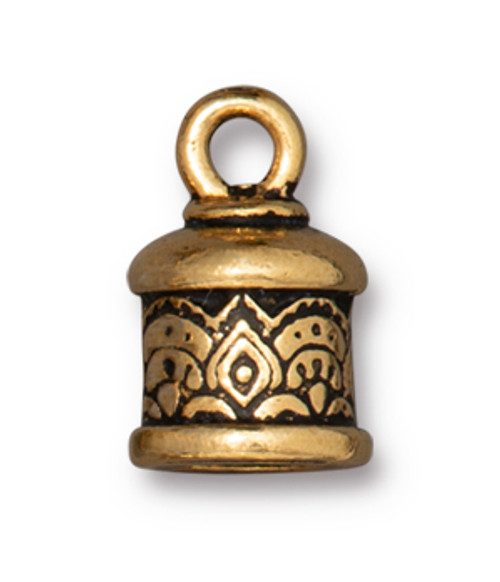 TierraCast 6mm Temple Cord End, Antique Gold Plate (Qty: 2)