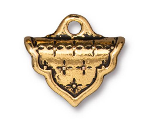 TierraCast Marrakesh Crimp End, Antique Gold Plate (Qty: 2)