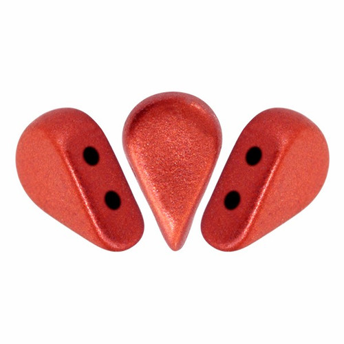 Amos par Puca Beads, Lava Red (Red Metallic Matte) (Qty: 25)