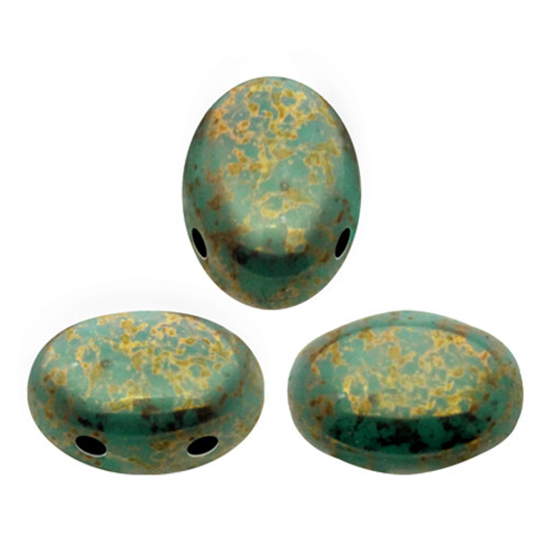 Samos par Puca Beads, Opaque Green Turquoise Bronze (Qty: 25)