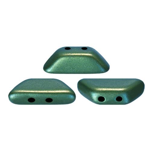 Tinos par Puca Beads, Metallic Green Turquoise (4 x 10mm)  (Qty: 10)