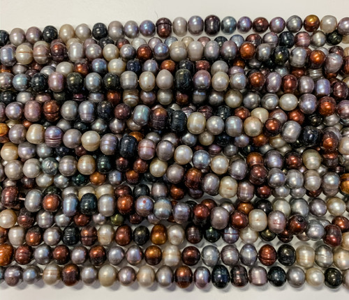7.5-8mm Autumn Mix Freshwater Pearls, Potato (1 strand - approx 57 pearls)