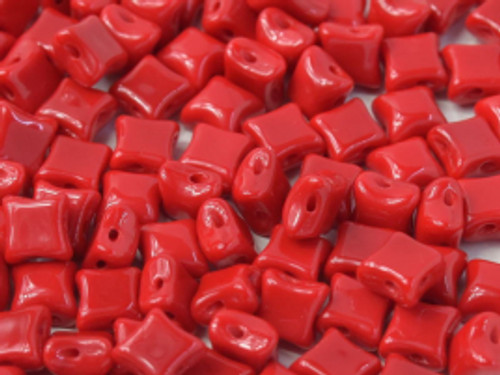 WibeDuo Beads, Opaque Red, 8 x 8mm (Qty: 25)