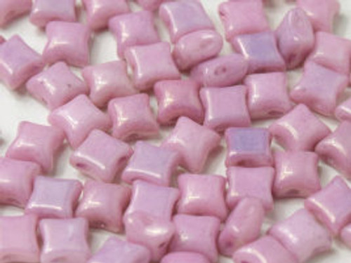 WibeDuo Beads, Chalk White Lila Luster, 8 x 8mm (Qty: 25)
