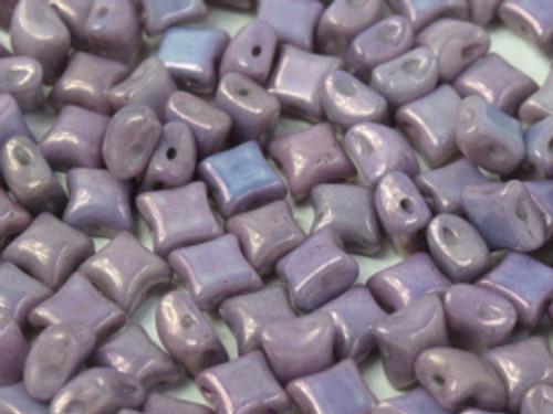 WibeDuo Beads, Chalk White Lila Vega Luster, 8 x 8mm (Qty: 25)