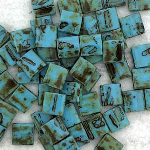 Tila Beads, Seafoam Green Picasso, 5 x 5mm, Color 4514 (Qty: 10 gr.)