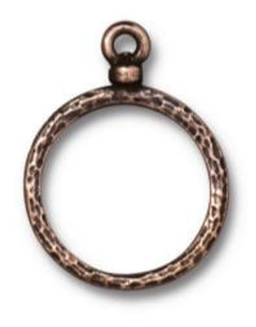 TierraCast Round Wire Frame, Oxidized Brass Plate, 18mm (Qty: 1)