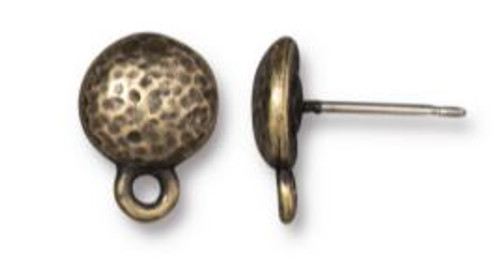 TierraCast Hammered Round Earring Post, Oxidized Brass Plate, 8.75mm (Qty: 2)