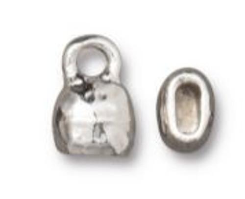 TierraCast Distressed Look Crimp End Cap, Rhodium Plated, ID 4 x 2mm (Qty: 2)