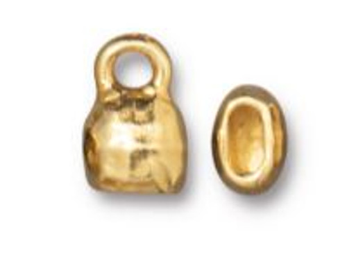 TierraCast Distressed Look Crimp End Cap, Gold Plated, ID 4 x 2mm (Qty: 2)