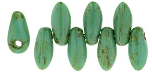Mini Daggers, 2.5 x 6mm, 1-Hole, Turquoise Picasso (Qty: 50)