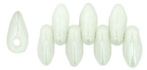 Mini Daggers, 2.5 x 6mm, 1-Hole, Opaque White Luster (Qty: 50)