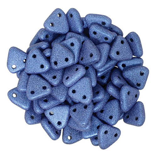 2-Hole Triangle Beads, Blue Metallic Suede (Qty: 50)