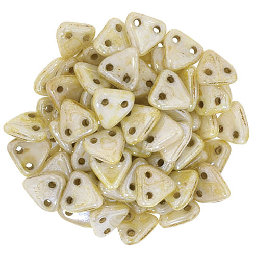 2-Hole Triangle Beads, Opaque Luster Picasso (Qty: 50)
