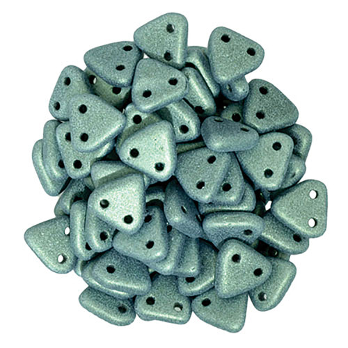 2-Hole Triangle Beads, Light Green Metallic Suede (Qty: 50)