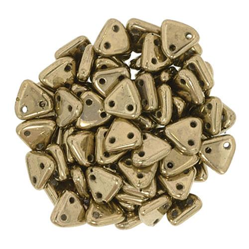 2-Hole Triangle Beads, Bronze (Qty: 50)