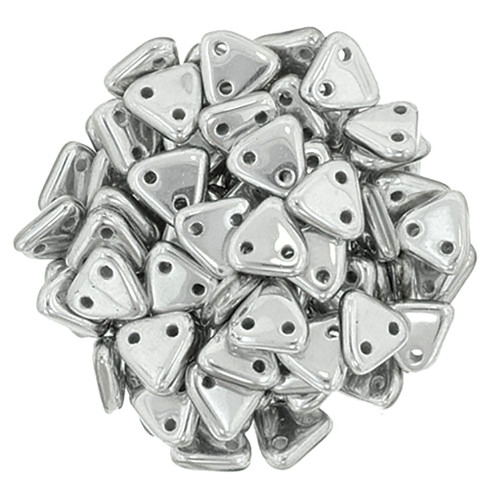 2-Hole Triangle Beads, Aluminum Silver (Qty: 50)