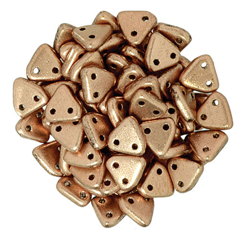 2-Hole Triangle Beads, Vintage Copper (Qty: 50)
